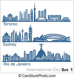 International City - Toronto, Sydney, Rio de Janeiro. Detailed architecture. Trendy vector illustration, line art style. Isolated on white background.