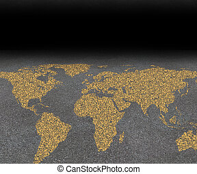 International city travel and global street festival tourism concept with an asphalt road with a world map painted with yellow paint on the rough surface as a symbol of worldwide travel guide for cities.