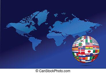 International communication concept. World flags on globe ...