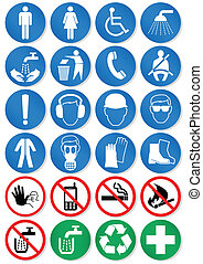 Vector illustration set of different international communication signs. All vector objects and details are isolated and grouped. Colors, shadow and transparent background color are easy to remove or customize. Symbols are replaceable.