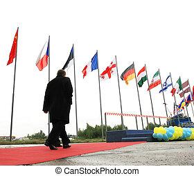 international conference - businessman walking under ...