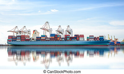 International Container Cargo ship with working crane bridge in shipyard background, logistic import export background and transport industry.