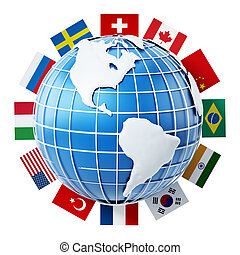 International country flags on the globe