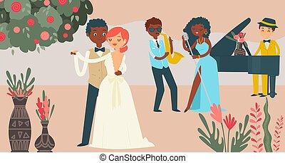 International couple wedding celebration, character male female marry flat vector illustration. Music group jazz performance, wed festivity.