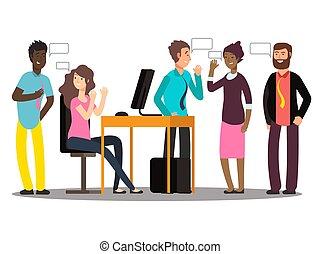International creative team have conversation. Businesspeople at work vector illustration