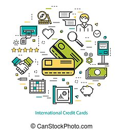 International Credit Cards - Line Art