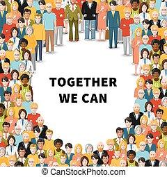 International crowd of people, conceptual illustration