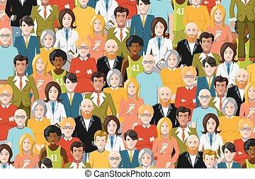 International crowd of people, flat illustration