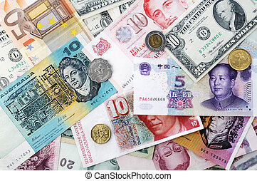 International currencies background.