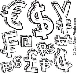 International currency symbol set - Doodle style coin with...
