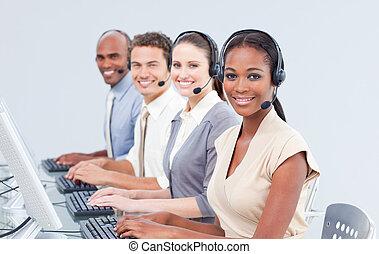 International customer service representatives using headset in a call-center