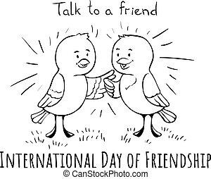 International Day of Friendship Birds talk doodle greeting card