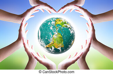 International Day of Friendship concept: Hands holding a heart and Earth symbol