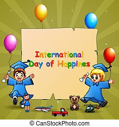 International Day of Happiness template design with graduation kids