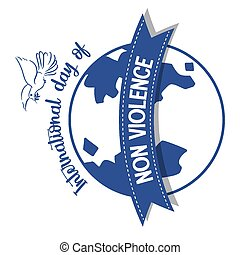 International Day of Non Violence logo on globe with a dove