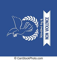 International Day of Non Violence logo on globe with a dove on blue background
