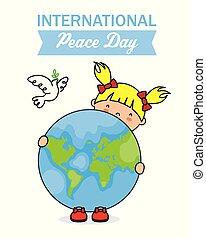 Little girl holding the world ball