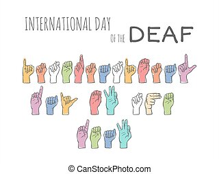 International day of the deaf on a white background