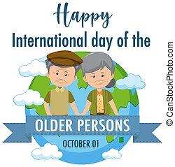 International Day of the Older Persons 1st October logo with a old couple