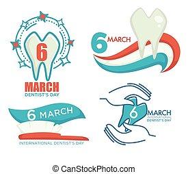 International dentist day celebration, 6 march holiday banners set