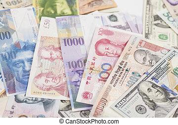international, devises, billets banque