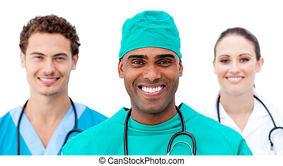 International doctors standing in a row