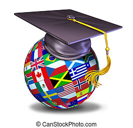 International education symbol with graduation cap and mortar board on a sphere with flags of the globe.