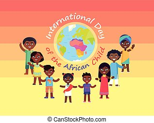 international, enfant, commercial, jour, africaine