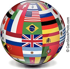 international, erdball, mit, flaggen