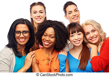 international, femmes, groupe, étreindre, heureux