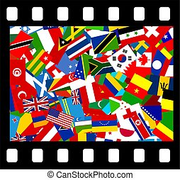 Movie film icon showing flags from all over the world. Simple concept graphic.
