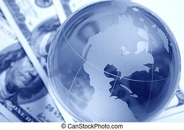 International finance - A globe and cash close up
