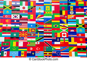 Photo of printed flag displays showing the various countries of the world in an abstract wallpaper pattern.