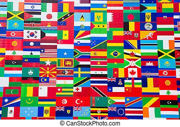 international flag, fremvisning, i, adskillige, lande