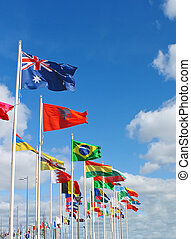 International flags on waterfront of Rotterdam. Netherlands.