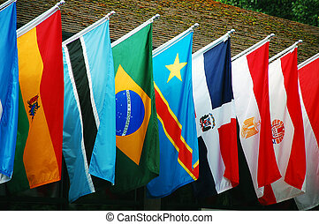 Row of colorful international flags
