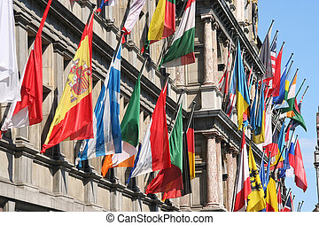 International Flags - International flags on City Hall of...
