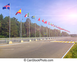 International flags waving in the wind