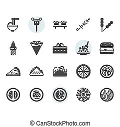 International food icon and symbol set in glyph design