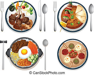 International food - Illustration of four dishes of...