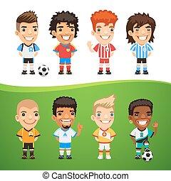 international, fußball, satz, karikatur, spieler