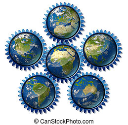 Global industry network represented by earth hemispheres representing global economic regions of international trade using cogs and gears as a symbol.