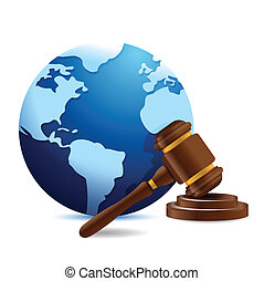 international globe and gavel illustration design over a...