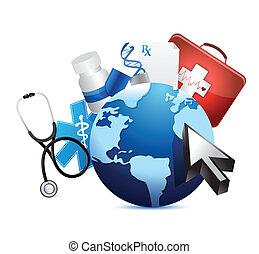 international, globe, concept, monde médical
