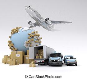 International goods transport - 3D rendering of the Earth,...