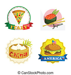 International gourmet food icons