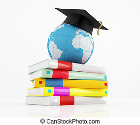 graduation cap over the globe and stack of book - rendering