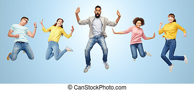 international group of happy people jumping - happiness,...