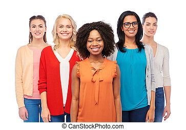 international group of happy smiling women