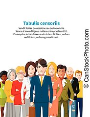 International group of people, business flat illustration a4 size with text template